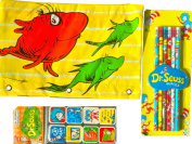 Dr Seuss Arts and Crafts Gift Set Including Dr Seuss Pencil Case with Pencils and Dr Seuss Character Erasers