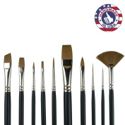 10pc Synthetic Sable Artist Brush Set