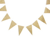 My Mind's Eye Vintage Style Mini Triangle Flag Banner, 3m Long, Gold