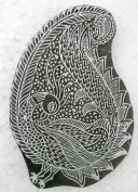 Peacock in a Paisley design wooden block stamp/ Tattoo/ Indian Textile Printing Block
