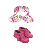 Leather Baby Moccasin with Floral Print Baby Bow Knot Headband