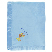Rowan Personalised Baby Blanket - Blue with Giraffe & Name Embroidery