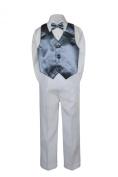 Leadertux 4pc Formal Little Boys Dark Grey Vest Bow Tie Set White Pants Suit S-7