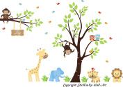 Baby Nursery Children's Wall Decals: Safari Jungle Animals Wildlife Themed 220cm X 300cm (Inches): Repositionable Removable Reusable Wall Art. vinyl wall decals