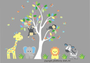 Baby Nursery Kids Children's Wall Decals: Safari Jungle Animals Wildlife Themed 200cm tall X 220cm wide (Inches)