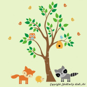 Baby Nursery Kids Children's Wall Decals: Forest Nature Woodlands Animals Wildlife Themed 220cm tall X 340cm wide (Inches)
