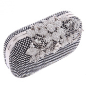 Fawziya® Flower Purses with Rhinestones Crystal Evening Clutch Bags - Black
