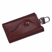 Car Key Chain Holder, Sandistore Men Leather Wallet Car Key Chain Holder 6 Ring Pouch Case