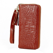 Mantos Eternity Genuine Leather Women's New Fahion Crocodile Double Use Purse Case Long Card Holder Wrist Bag Zippered Closure Clutch Wallet for Women