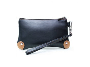Ashlin Genuine Leather Wristlet with Magnetic Closure, Colorblocking