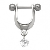 Clear Jewel Dangle Cartilage Earring Ear Shield-20g-18g-16g-Left or Right Ear-Steel Straight Barbell