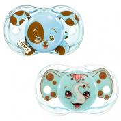 RaZbaby Keep-It-Kleen Pacifier 2 Pack - Percy Blue & Elfy Elephant