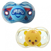 RaZbaby Keep-It-Kleen Pacifier 2 Pack - Adam Aeroplane & Bobby Bear