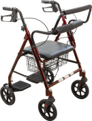 Roscoe Medical 30192 Transport Rollator with Padded Seat, Burgundy