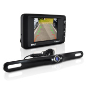 Pyle Wireless Backup Camera Kit - Rear View Camera and 8.9cm Dashboard Monitor - Features a Licence Plate Mounted Weatherproof Aluminium Housing with Night Vision and Distance Scale Lines For Parking Cars Hitch Backing - Easy installation