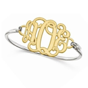 Women's Etched Outline Monogram Bracelet in Yellow Gold over Sterling Silver