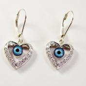 Evil Eye Earring, Silver and Cubic Zirconia Evil Eye Earring