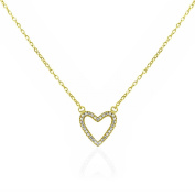 SPOIL CUPID .925 Sterling Silver CZ Simulated Diamond Hollow Design Heart Necklace