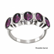 V3 Jewellery 2.80cttw Rhodolite Garnet 5-Stone Oval-cut Band Ring