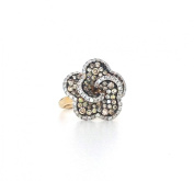 1.50 CTS Brown & White Diamond Flower Fashion Ring 14k Yellow Gold Cocktail Pave