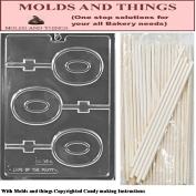 Number 0 Lolly numbers and letters Chocolate candy mould © Moulding Instruction+ 25 Lollipop sticks