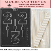 Number 2 Lolly numbers and letters Chocolate candy mould © Moulding Instruction+ 25 Lollipop sticks