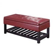 Simpli Home Cosmopolitan Rectangular Entryway Storage Ottoman Bench with Open Bottom, Radicchio Red