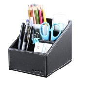 KINGFOM™ 3 Slot PU Leather Desk Remote Controller Holder Organiser; Home Sundries Storage Box; TV Guide/Mail/CD Organiser/Caddy/Holder with Free Cable Organiser