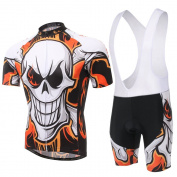 Spoz Men Fashion Fire Skull Cycling Gel Pad Bid Jersey Set Y_T_003
