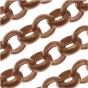 Antiqued Copper Plated Large Round Rolo Chain 7.3mm Bulk By The Foot