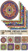 Paper Pack (24sh 15cm x 15cm ) Persian Arabesque FLONZ Vintage Paper for Scrapbooking and Craft