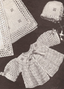 Vintage Crochet PATTERN to make - BABY Bonnet Jacket Blanket Set. NOT a finished item. This is a pattern and/or instructions to make the item only.