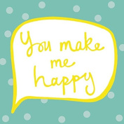 You Make Me Happy Yellow/Teal Needlepoint Kit, 30cm Square, Canvas Only Kit.