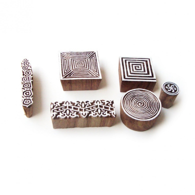 Indian Handmade Spiral & Border Designs Wooden Tags for Printing (Set of 6)