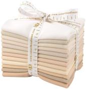 Robert Kaufman KONA COTTON SOLIDS NOT QUITE WHITE Fat Quarter Bundle 12 Precut Cotton Fabric Quilting FQs Assortment FQ-909-12