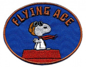 Snoopy pilot flying ace goggles scarf sitting on red dog house Embroidered Peanuts Iron On / Sew On Patch