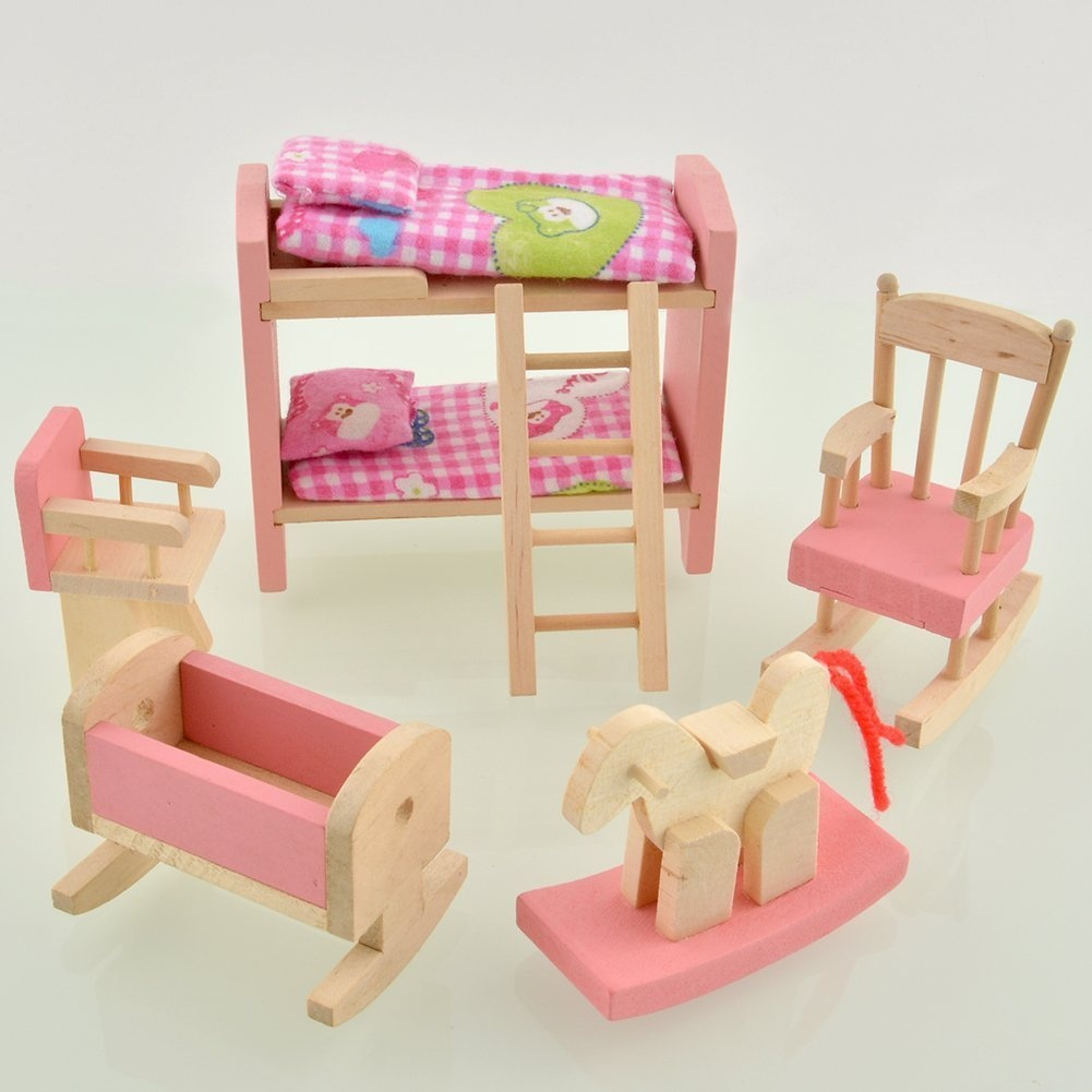 Dreams Mall Wooden Doll House Furniture Set Toy For Baby Kids Kids