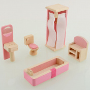 Dreams-Mall® Wooden Doll House Furniture Set Toy for Baby Kids - Bathroom