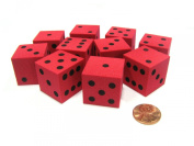 Set of 10 D6 Large 25mm Foam Dice - Red with Black Spots