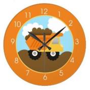 Dump Truck Construction Nursery Wall Clock - Orange