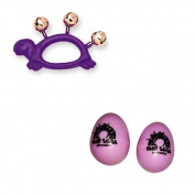 Hohner Kids Purple Turtle Animal Jingle Bells Deluxe w/ Pink Rhythm Percussion Egg Shakers Pair