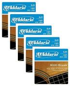 LOT OF 5 - D'Addario 80/20 Bronze Acoustic Guitar Strings, Light, 12-53, EJ11