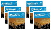LOT OF 6 - D'Addario 80/20 Bronze Acoustic Guitar Strings, Light, 12-53, EJ11