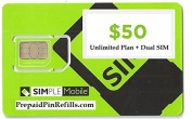 Simple Mobile Micro / Mini Dual SIM Card for T Mobile and Unlocked GSM Phones w/ $50 Plan
