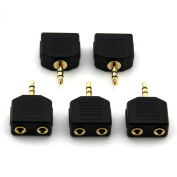 Ruiling(TM) 5-Pack Gold Plated 3.5mm Stereo Plug to 2 x 3.5mm Stereo Jack Splitter Adaptor Audio Adapter Connectors.