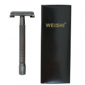 WEISHI 9306CL Long Handle Version Heavy Weight Butterfly Open Double Edge Safety Razor with 5 YingJiLi Razor Blades.