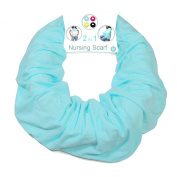 Nursing Cover for Breastfeeding and Pumping- Universal Fit for All Sizes - Infinity Scarf turns into Privacy Cover Up - -Solid Colour for Less Attention - Blue - Family First