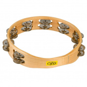 CP390 25cm Wood Tambourine, Headless, Double Row Jingles