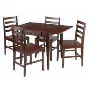 Winsome Wood Hamilton 5-Piece Drop Leaf Dining Table with 4-Ladder Back Chair