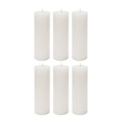 Mega Candles - Unscented 5.1cm x 15cm Hand Poured Round Premium Pillar Candle - White, Set of 6